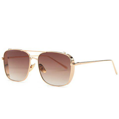 Online Metal Frame Rectangle Ombre Affordable Polarized Sunglasses TEA-COLORED