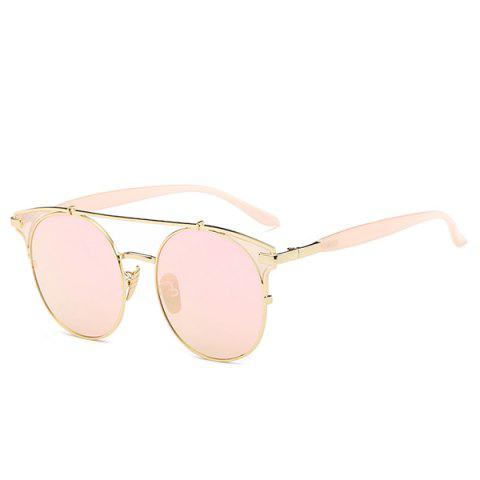 Stylish Crossbar Pink Cat Eye Mirrored Sunglasses For Women - Pink