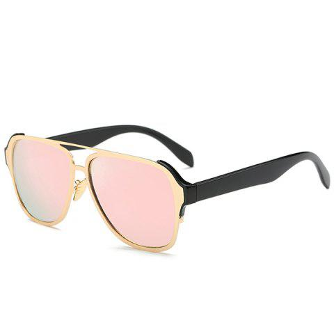 Unique Stylish Cut Out Pink Pilot Mirrored Sunglasses For Women PINK
