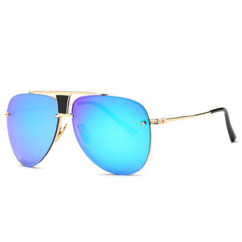 Shop Stylish Frameless Pilot Mirrored Sunglasses BLUE