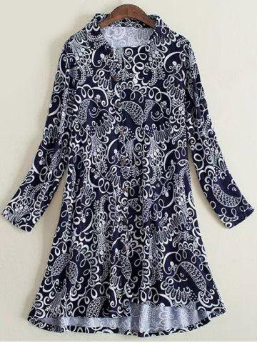 Chic Plus Size Elegant Inclined Button Fly Dress PURPLISH BLUE 3XL