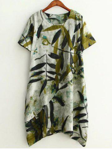 Plus Size Leaf Ink Painting Baggy Tee Shirt Dress - Green - Xl