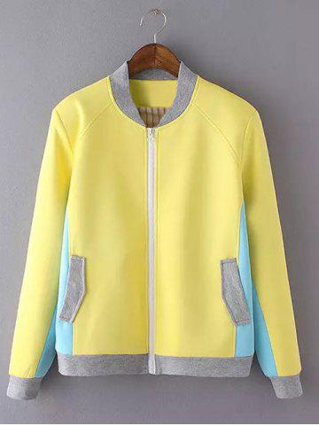 Latest Long Sleeve Stand Collar Color Block Jacket