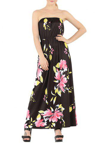 Outfit Chic Floral Print Strapless Maxi Dress