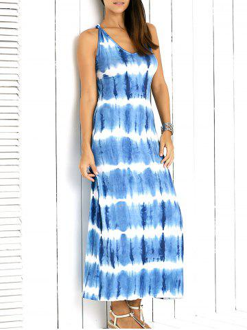 Affordable Brief Sleveless Criss-Cross Back Tie-Dye Maxi Dress For Women