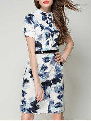 Store Chic Stand Collar Buttoned Pocket Design Printed Women's Dress
