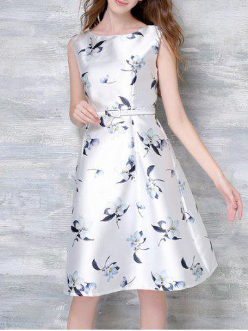 Fancy Elegant High Waist Sleeveless Floral Print Women's Dress