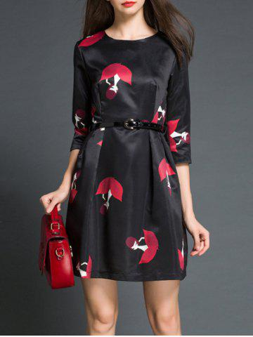 New Charming Round Neck 3/4 Sleeve Printed Women's Dress