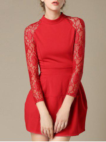 Latest Charming Lace Splicing Pocket Design Women's Dress