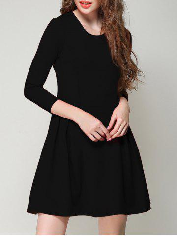 Shop Chic 3/4 Sleeve Solid Color Slimming Women's Dress BLACK XL