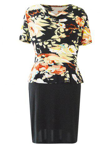 Chic Chic Cowl Neck Short Sleeve Floral Print Women's Dress