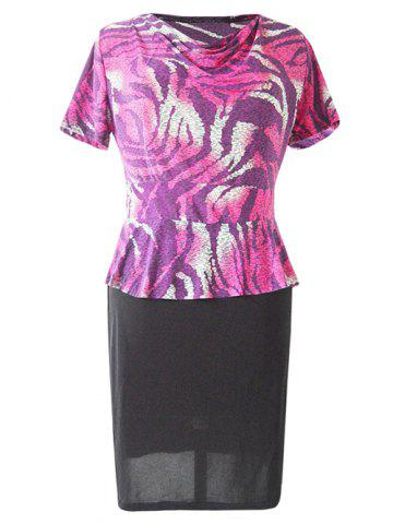 Outfits Trendy Cowl Neck Short Sleeve Printed Women's Dress