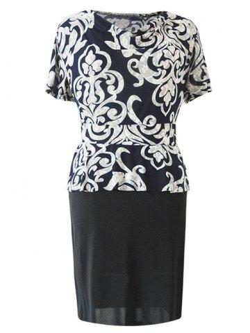 Latest Chic Cowl Neck Paisley Print Spliced Women's Dress