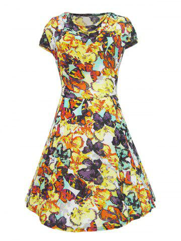 Shops Retro Style Cowl Neck Butterfly Print Women's Dress
