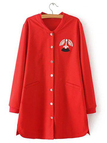 Discount Oversized Embroidered Buttoned Baseball Coat