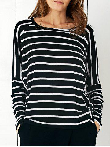 Affordable Batwing Sleeve Striped T-Shirt