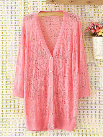 Buy Long Sleeve Oversized Openwork Buttoned Long Cardigan PINK 2XL