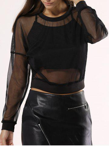 Trendy See-Through Mesh Blouse For Women