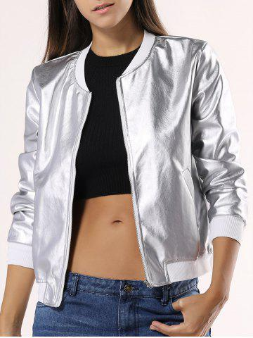 Latest Glossy Pure Color Jacket For Women SILVER 2XL