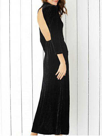 Fashion Velvet Slit Open Back Maxi Formal Dress BLACK S