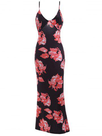 Store Plunging Neck Backless Floral Formal Maxi Slip Dress