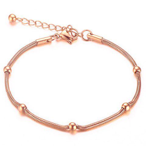 Gold Plated Bead Snack Chain Bracelet - Rose Gold