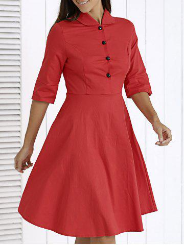 Sale Chic Button-Up Solid Color Flare Dress For Women