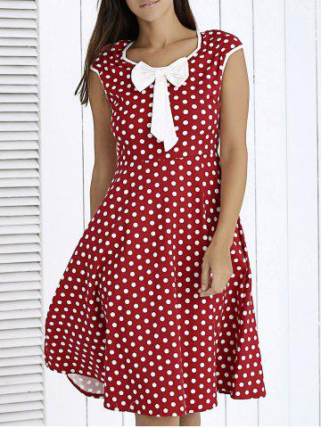 Buy Vintage Bowknot Front Polka Dot Dress For Women