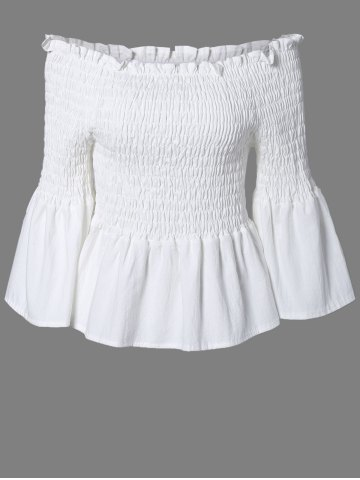 Discount Ladylike Solid Color Ruffles Bell Sleeves Blouse