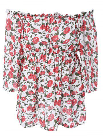 Fancy Sweet Off-The-Shoulder Ruffled Floral Blouse