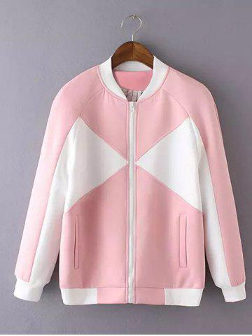 Buy Long Sleeve Stand Collar Hit Color Jacket