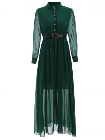 Store Stand Collar Long Sleeve Belted Dress