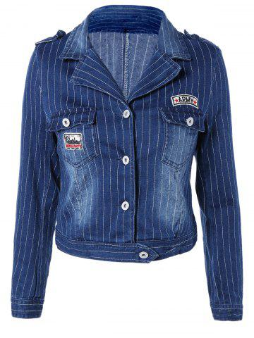 Best Stylish Lapel Appliques Striped Jacket