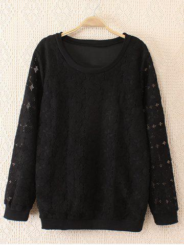 Affordable Plus Size Sweet Hollow Out Lace Sweatshirt BLACK 2XL