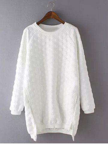 Fancy Plus Size Casual Polka Dot Pattern Sweatshirt WHITE 3XL