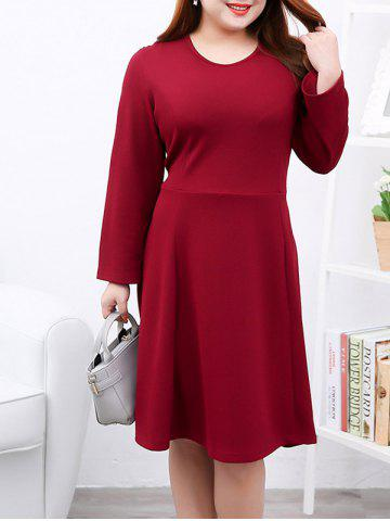 Hot Plus Size Brief Slimming Draped Dress RED 4XL