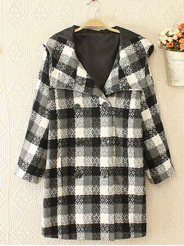 Hot Plus Size Plaid Double Hooded Breasted Coat WHITE/BLACK 2XL