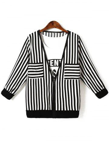 Outfits Oversized Chic Letter Print Tank Top + Striped Jacket