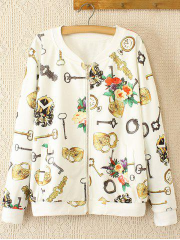 Buy Oversized Sweet Key and Flower Print Jacket