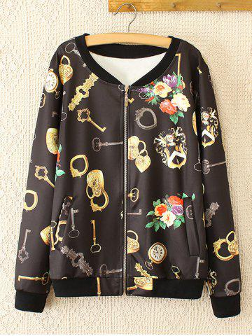 Outfits Oversized Sweet Key and Flower Print Jacket BLACK 3XL