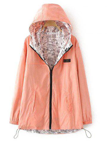 Cheap Plus Size Reversible Long Coat Jacket with Hood ORANGEPINK 2XL