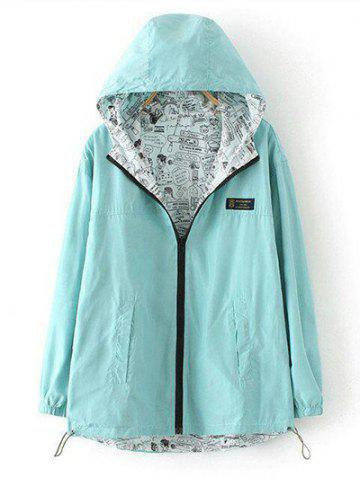Latest Plus Size Reversible Long Coat Jacket with Hood - 2XL LIGHT GREEN Mobile