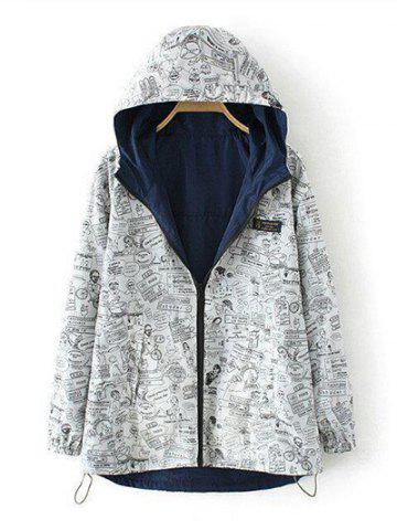 Outfit Plus Size Reversible Long Coat Jacket with Hood - 2XL CADETBLUE Mobile