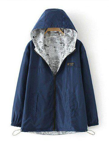 Plus Size Reversible Long Coat Jacket with Hood - Cadetblue - Xl