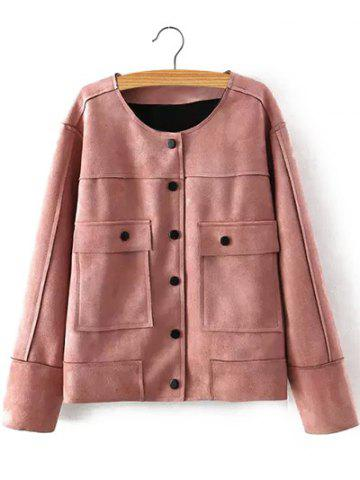 Outfit Plus Size Chic Faux Suede Fabric Jacket NUDE PINK 3XL