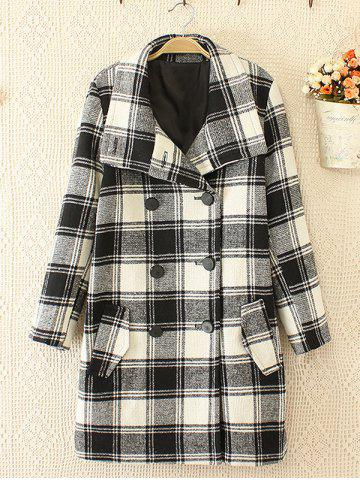Trendy Plus Size Plaid Woolen Double Breasted Coat WHITE/BLACK 3XL