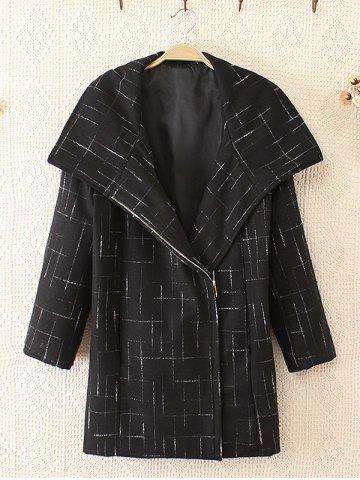 Fashion Plus Size Fashionable Big Collar Woolen Coat WHITE AND BLACK 3XL