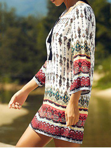 Trendy Retro Style Patchwork Printed Mini Tunic Dress - XL COLORMIX Mobile
