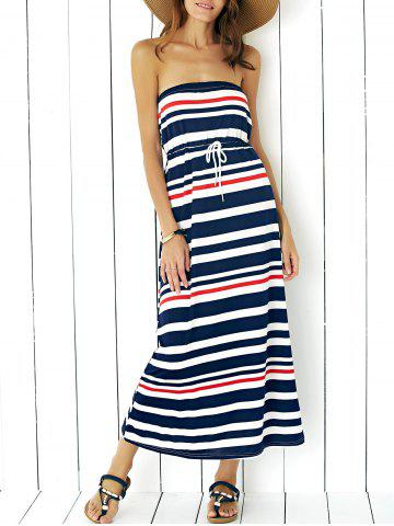 Store Maxi Strapless Stripe Drawstring Casual Dress