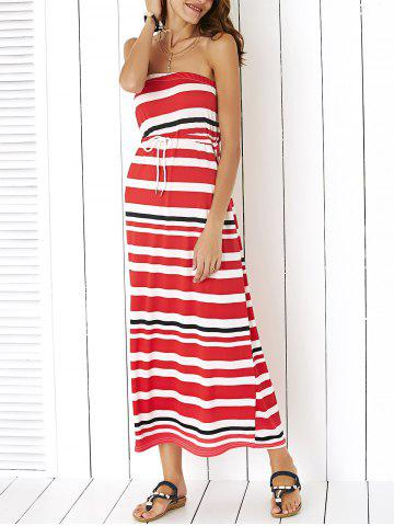 Maxi Strapless Stripe Drawstring Casual Dress - Red - M